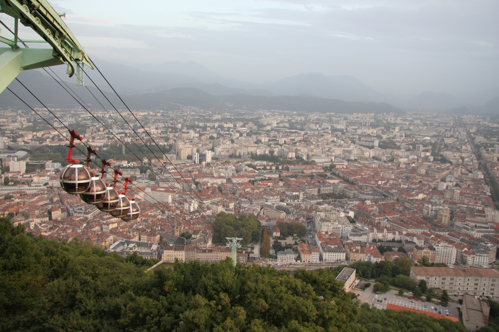 Cable Car and Grenoble seen from Bastille