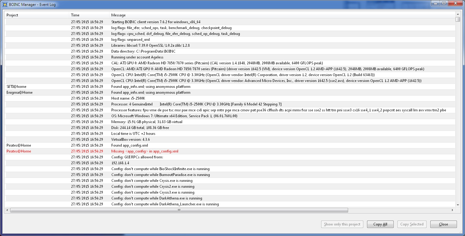 The BOINC Manager Event Log window.