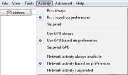 The BOINC Manager Activity menu.