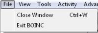The BOINC Manager File menu.