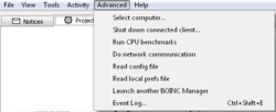 The BOINC Manager Advanced menu.