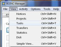 The BOINC Manager View menu.