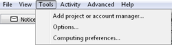 The BOINC Manager Tools menu.