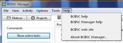 The BOINC Manager Help menu.